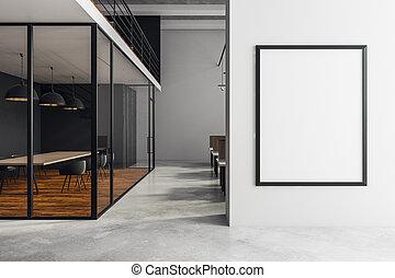 manifesto, moderno, stanza riunione, vuoto