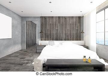 manifesto, moderno, vuoto, camera letto