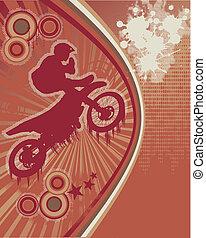 manifesto, motociclista, vettore, grunge