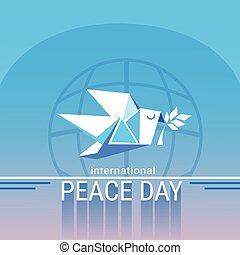 manifesto, pace, giorno, origamini, mondo, colomba bianca, uccello