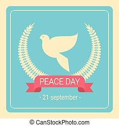manifesto, pace, giorno, retro, mondo, colomba bianca, uccello