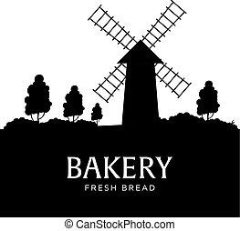 manifesto, paesaggio rurale, con, windmill., bakery., fresco, bread., vettore, illustration.