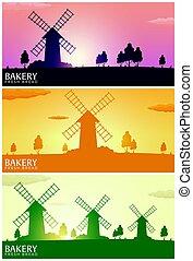manifesto, paesaggio rurale, con, windmill., sunrise., bakery., fresco, bread., vettore, illustration.