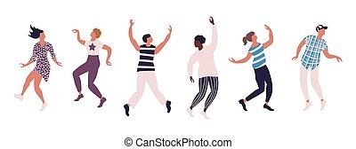 manifesto, persone, orizzontale, colorato, ballo