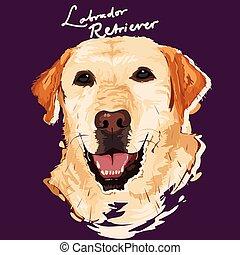 manifesto, pittura, cane riporto labrador
