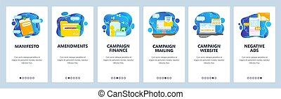 manifesto., politique, campaign., écrans, vecteur, site web, élection, fête, app, ou, candidat, template., mobile, bannière
