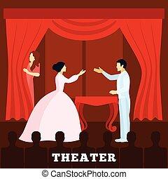manifesto, pubblico, palcoscenico, teatro, esecuzione