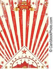 manifesto, raggi sole, circo, rosso