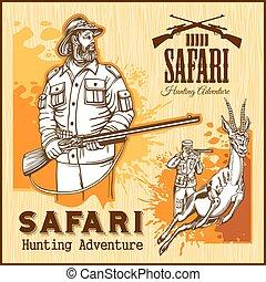 manifesto, safari, retro, caccia, africano