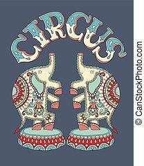 manifesto, sagoma, con, iscrizione, circo, e, due elefanti, perfor