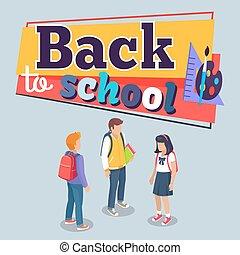 manifesto, scuola, vettore, indietro, schoolchildren