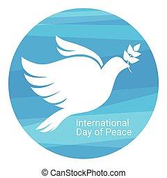 manifesto, simbolo, pace, giorno, mondo, colomba bianca, uccello