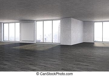 manifesto, stanza moderna, vuoto