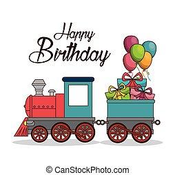 manifesto, treno, compleanno, felice