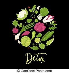 manifesto, verdura, lattuga, vettore, verde, fresco, detox, insalate