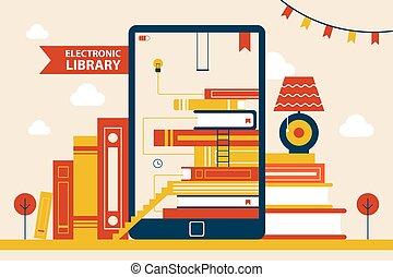 manifesto, vettore, biblioteca elettronica, illustrazione