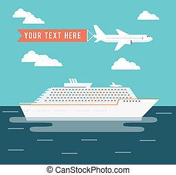 manifesto, viaggiare, aereo, disegno, vada crociera nave