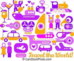 manifesto, viaggiare, vettore, disegno, mondo
