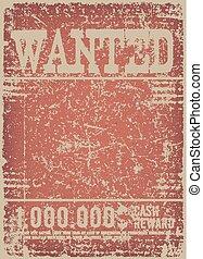 manifesto voluto, su, grunge rosso, fondo