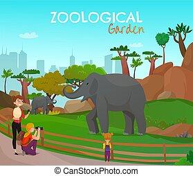manifesto, zoologico, cartone animato, giardino