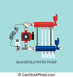 Manifold with Pump for warm floor. Vector illustration. Flat...