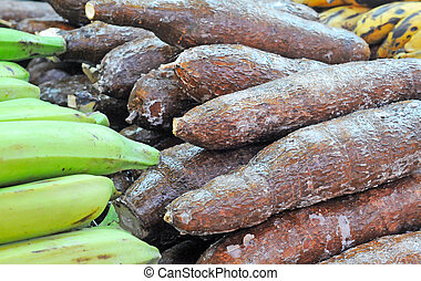 pile of cassava or manioc (manihot esculenta) with cooking plantain (musa) on the side, selective focus