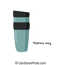 manija, illustration., simple, thermos., jarra, vector, ...