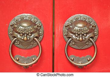 manijas, puerta, asiático