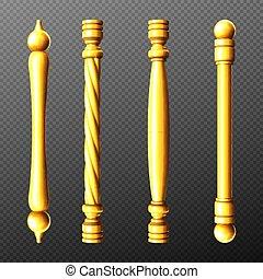 manijas, torcido, oro, perillas, conjunto, columna, puerta
