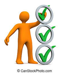 Manikin Abstract Checklist - Orange cartoon character with...