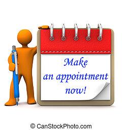 Manikin Appointment - Orange cartoon character with ballpen,...