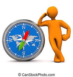 Manikin Big Compass - Orange cartoon character with big ...