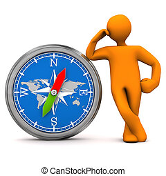 Manikin Big Compass - Orange cartoon character with big...