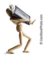 Manikin carrying a full wallet - Manikin carrying a wallet...