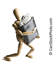 Manikin carrying a wallet full of money