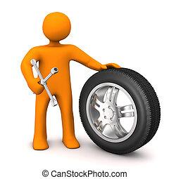 Manikin Change Of Tires - Orange cartoon character with car...