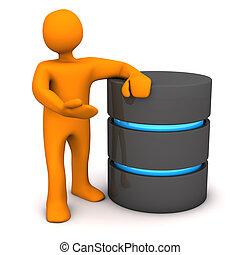 Orange cartoon character with big database. White background.