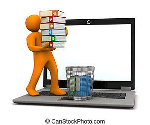Manikin Folders Wastebasket - Orange manikin with folders,...