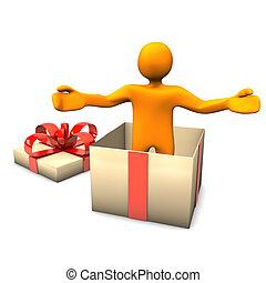 Manikin Gift Surprise - Orange cartoon character in the gift...