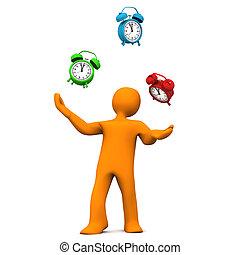 Manikin Juggling Alarmer, - Orange cartoon character juggles...