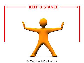 Manikin Keep Distance - Orange cartoon character with red...