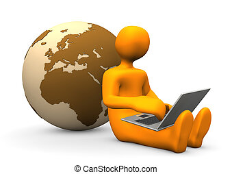 Orange cartoon character with laptop and globe.