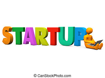 Manikin Laptop Startup - Orange cartoon character with...