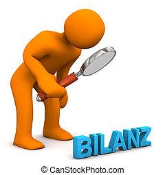 Manikin Loupe Balance - Orange cartoon character with german...