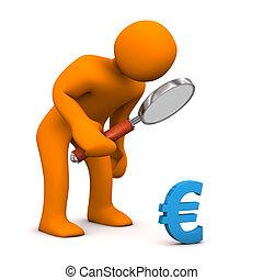 Manikin Loupe Euro - Orange cartoon character with loupe and...