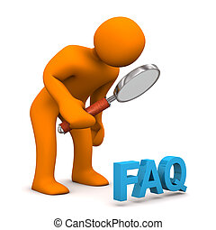 Orange cartoon character with loupe and blue text FAQ.