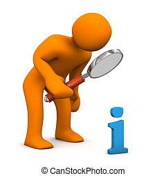 Manikin Loupe Info - Orange cartoon character with loupe and...