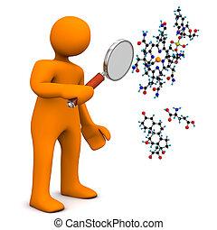Manikin Loupe Molecule - Orange cartoon character with loupe...