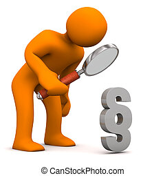 Manikin Loupe Paragraph - Orange cartoon character with...