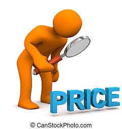 Manikin Loupe Price - Orange cartoon character with loupe...